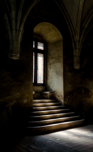 Light in the castle. Corvin castle, Hunedoara (Romania)